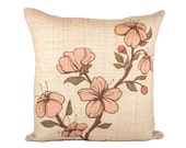 "Orange Floral Pillow Cover, Flower Cushion Cover, Spring, 16"" - TheWatsonShop"