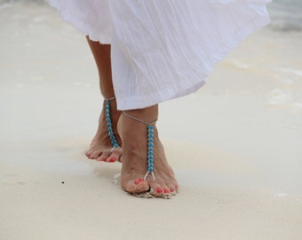 Turquoise beads and seed beads beadwork barefoot sandal,beach wedding barefoot sandals, bangle, wedding anklet,bridesmaid accessories