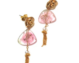 Watermelon Tourmaline Slice Earring Pink Tourmaline Pink Earring Scroll Ear Tassel Earring Tourmaline Jewelry Rose Earring Spring Jewelry