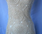 1980's Ivory Crochet  Macrame Dress