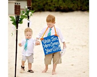 Boys Blue, White, and Orange Striped Tie- Sizes newborn-7years- Skinny Tie