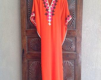 Sheer orange caftan long tunic dress, beach wear, resort wear
