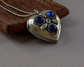 Half Price SALE Heart Boho FREE SHIPPING Pendant Silver Blue Large Chunky 3D Long Necklace Bohemian Valentine Fashion Jewelry PaisleyBeading