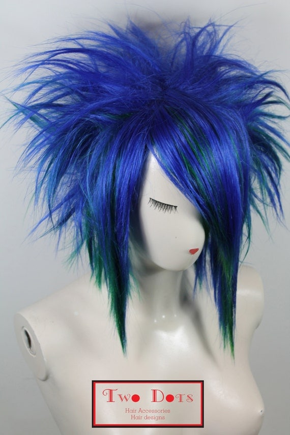 EMO Punk Spiky Blue & Green Wig. Synthetic Hair by TWODOTSHAIR