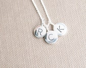 Sterling Silver Initial Charm Necklace - You Choose Three letters. Mom Charm Necklace, Mother's Day Charm Necklace, New Mom Necklace.  Mom