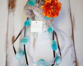 Reserved Listing for Amber Patton : 0 - 3 Month Newborn Baby Girl Crochet Flower Bonnet Earflap Photo Prop Hat