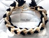 Jenny Bracelet, Gold Textured Chunky Chain Bracelet, Large Chain Bracelet, Gold and Black Bracelet, Gold Link Bracelet,  Pave Chain Bracelet