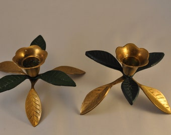 Pair of Vintage Brass Flower Candlestick Holders
