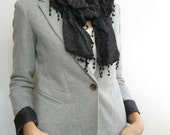 Gray knit fabric scarf, tricot scarf