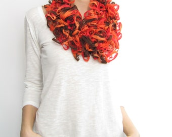Orange brown ruffle scarf, spring scarf, autumn scarf, flamenco scarf
