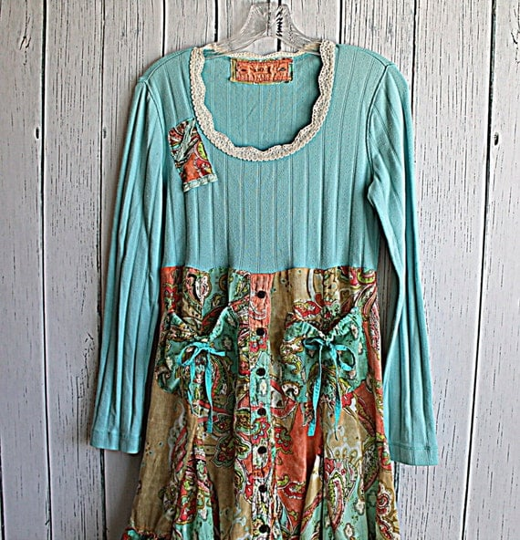 Women's Clothes / Upcycled Boho Funky Dress / By