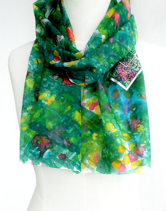 Green Silk Scarf. Hand Painted Silk Scarf. Green, Yellow, Blue Silk Scarf. Silver Checks Fashion. 10x60 in. (25x150 cm). Ready to Ship.