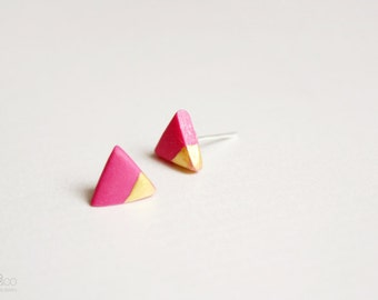 gold dipped triangle studs - pink and gold - minimalist geometric earrings  / gift for her - summer jewelry