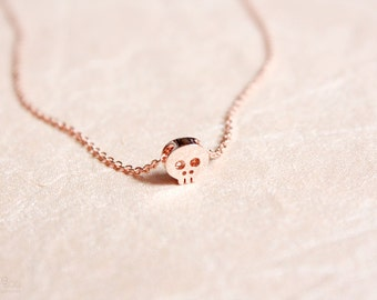 rose gold skull necklace - dainty, delicate, minimal, rose gold jewelry / gift for her under 20