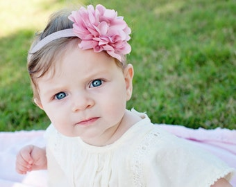 Baby headband, vintage pink flower, shabby chic headband, newborn headband, baby hair bow, newborn photo prop, infant headbands,