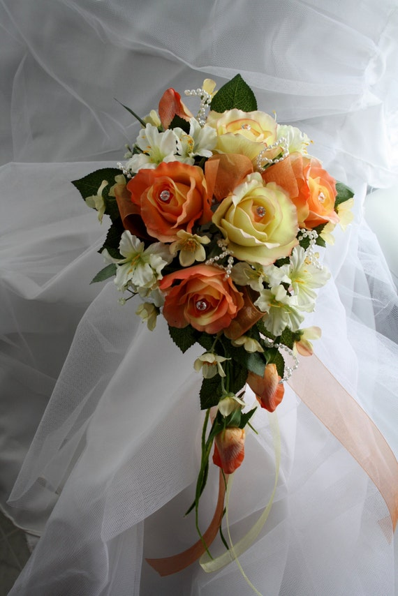 Wedding/Accessories/Wedding bouquet/Bridal bouquet/Real touch bouquet/Orange and yellow wedding roses bouquet/Coral yellow wedding bouqet/