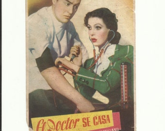 Free shipping-Vintage film flyer - The Doctor Takes a Wife - 1940.
