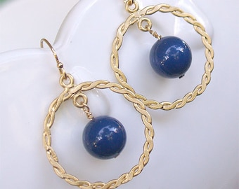 SPECIAL - Gold Circle Earrings - Nautical Rope Earrings - Navy Swarovski Pearl - Gold Filled Earwire - Gold Circle Earrings - Nautical