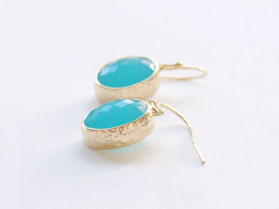 Turquoise and Gold Drop Earrings - Turquoise Blue Oval Drops on Gold Filled Earwire - Teal Stone Earrings - Bridesmaid Jewelry