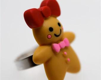 Gingerbread Girl Ring - Kawaii, Kitsch, Harajuku, Lolita, Princess, Fairy Kei by MillyPops