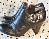 90's  BLACK Ankle Boots with Buckle Detail