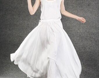White Linen Summer Dress - Maxi Long Vest Top Sleeveless Pinwheel Dress with Drawstring Waist Sundress (C070)