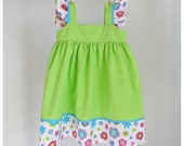 SALE - Girls dress - Girls floral Green dress 3T