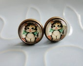 Round Stud Earrings  - Vintage Style Cartoon Kitty - vintage-style Golden Book Kitten design bronze OR silver and glass stud post earrings