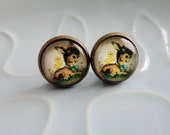 Lolly Studs - Vintage Style Cartoon Horse - vintage-style Golden Book Baby Foal Horse design bronze and glass stud post earrings