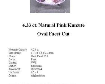 KUNZITE - Pretty 4.33 ct. Pale Pink Kunzite in a Nice Oval Cut...