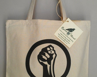 Female Feminist Symbol Fist Cotton Canvas Tote