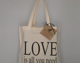 Wedding tote Love is all you need cotton canvas recycled material initial of your choice PRICE DROP if you purchase 3 or more 9 dollars each