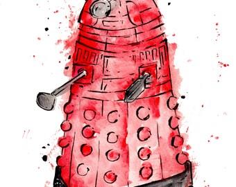 Red Dalek - Doctor Who Print, 8.5x11 inch inkjet print