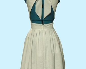 Custom Made Wedding Short Long Dress Open back Bow Seersucker Full Skirt Pockets Sleeveless Sundress Misses Plus Size Made in USA
