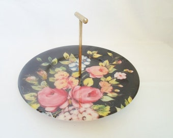 Vintage Handled Plastic Serving Tray Sweets Platter  Black with Roses Cottage Chic  Shabby Chic