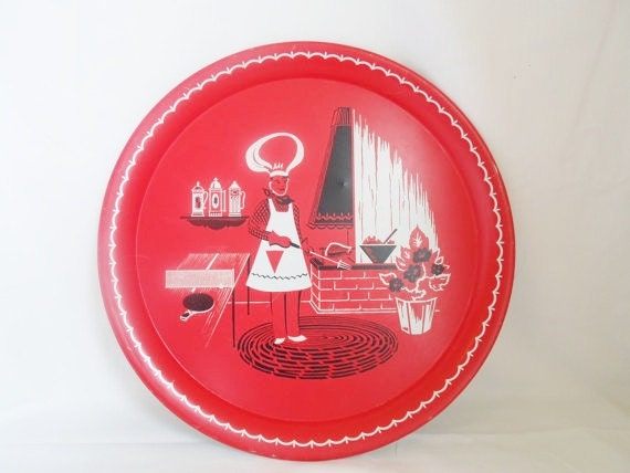 Vintage Tin Barbeque Platter  Red Black And White   Retro  Mid Century   Modern  Tin Tray  Party Tray