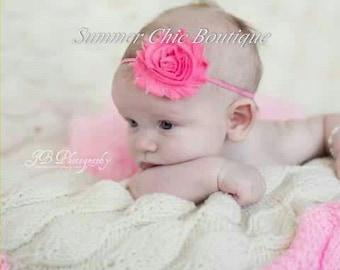 Baby Headband, Infant Headband, Newborn Headband, Toddler Headband- Medium Pink Shabby Chic Headband