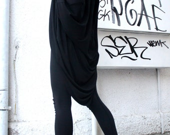 Casual Loose Oversized Black  Blouse / Asymmetric Tunic Top A01053