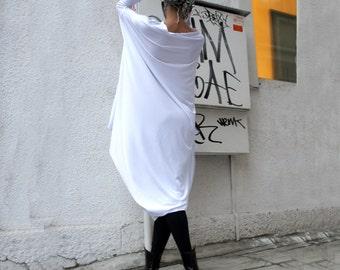 Oversize White Loose Casual Top / Asymmetric Raglan Long Sleeveless Tunic One Size / Maxi Blouse/ White caftan A02044