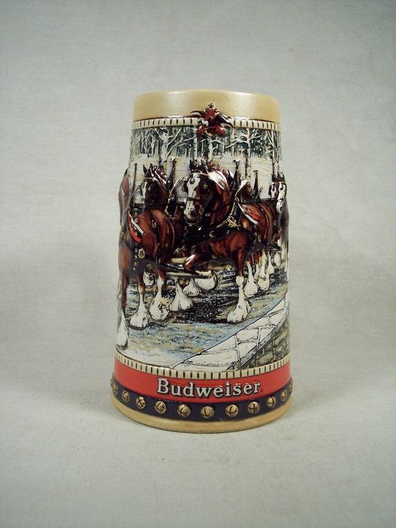 1988 Budweiser Beer Collectible German Stein Mug Holiday