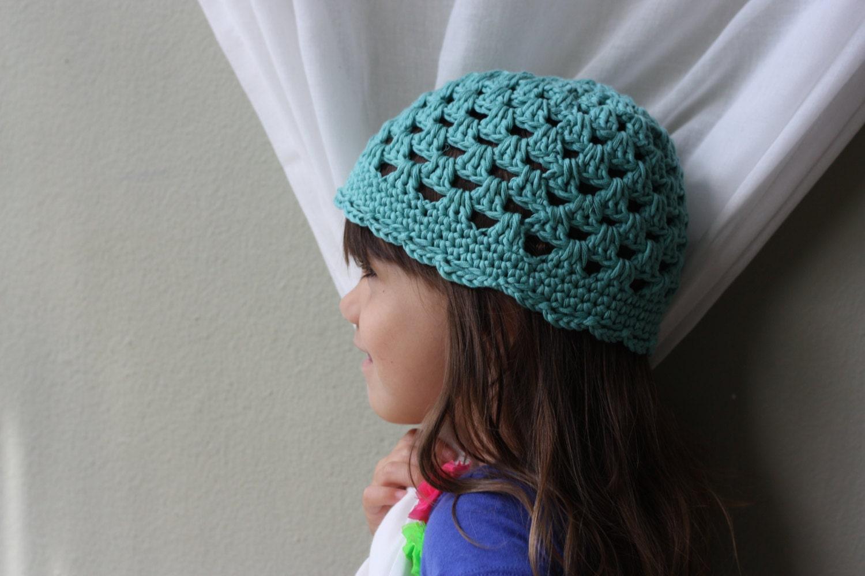 Organic Cotton Beanie Teal Crochet Cotton Yarn by sweetbamboo