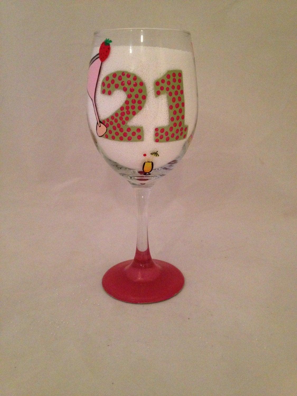 hand painted 21st birthday wine glass