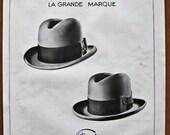 Tirard, 1928, vintage, ad, original, hat, men, French, advertisement, large, free shipping, paper, ephemera