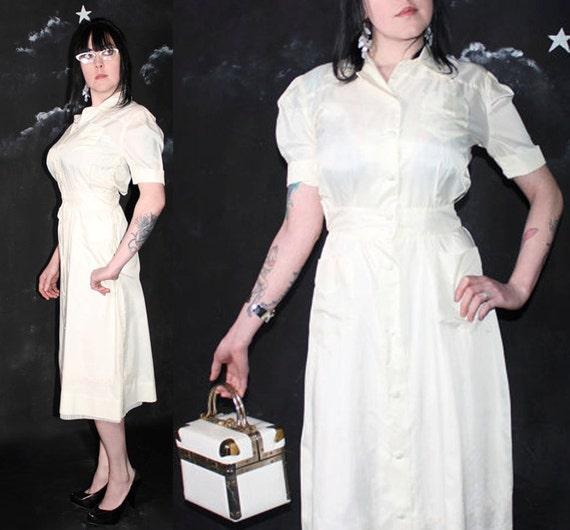 Hellooo Nurse Vintage 1950s Little White Dress By Harlowgirls