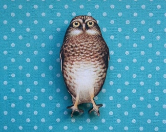 Owl Brooch Pin Wooden Badge