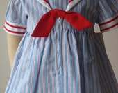 Light Blue Seersucker Girls Sailor Dress in 4T - 5 - 7