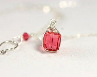 Pink Swarovski Necklace Wire Wrapped Jewelry Handmade Sterling Silver Jewelry Handmade Swarovski Crystal Necklace Swarovski Crystal Jewelry