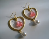 Princess Heart of Gold Chandelier Earrings with Pink Teardrops & White Pearls