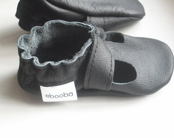 SALE -50% Ebooba,Baby Shoes,Crib Baby Shoes,Walker Baby Shoes,Baby Slippers,Baby Booties,Slippers,Baby Moccasins,Black Leather Sandals,4
