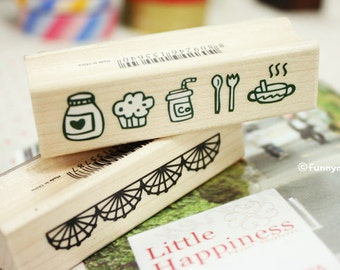 Lace Stamp - Wooden Rubber Stamp - Diary Stamp - Korean Stamp - 20 styles can choose
